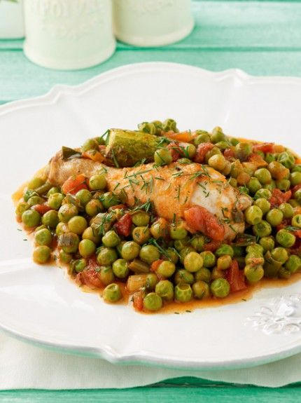 Chicken with peas and zuchini
