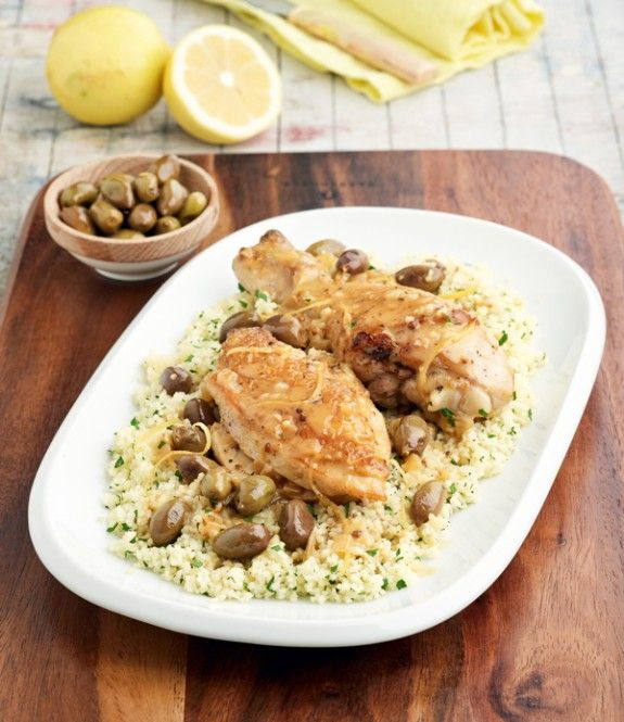 Lemon Chicken with Green Olive and couscous