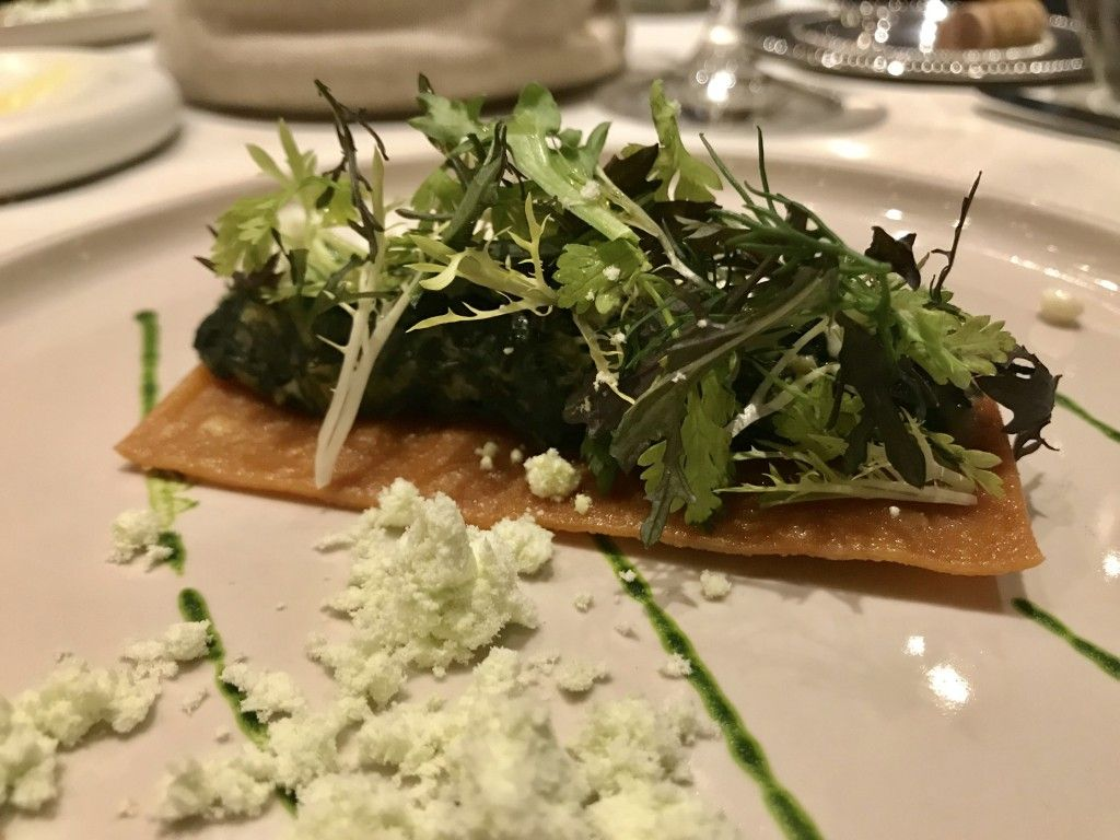 'Hortopita', wild greens, feta cheese, crispy fyllo