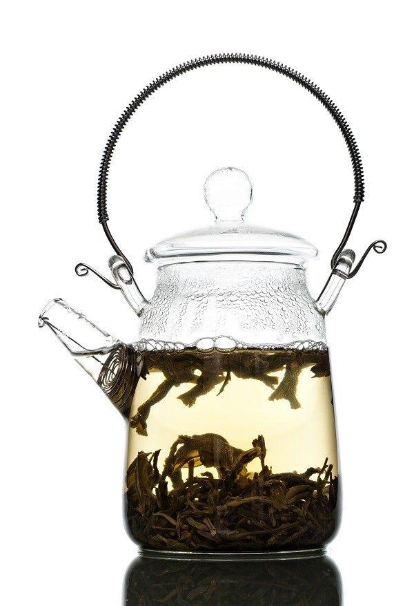 tea in glass pot