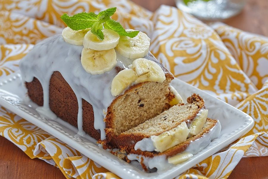 40030531 - banana bread with chocolate chips on wooden table