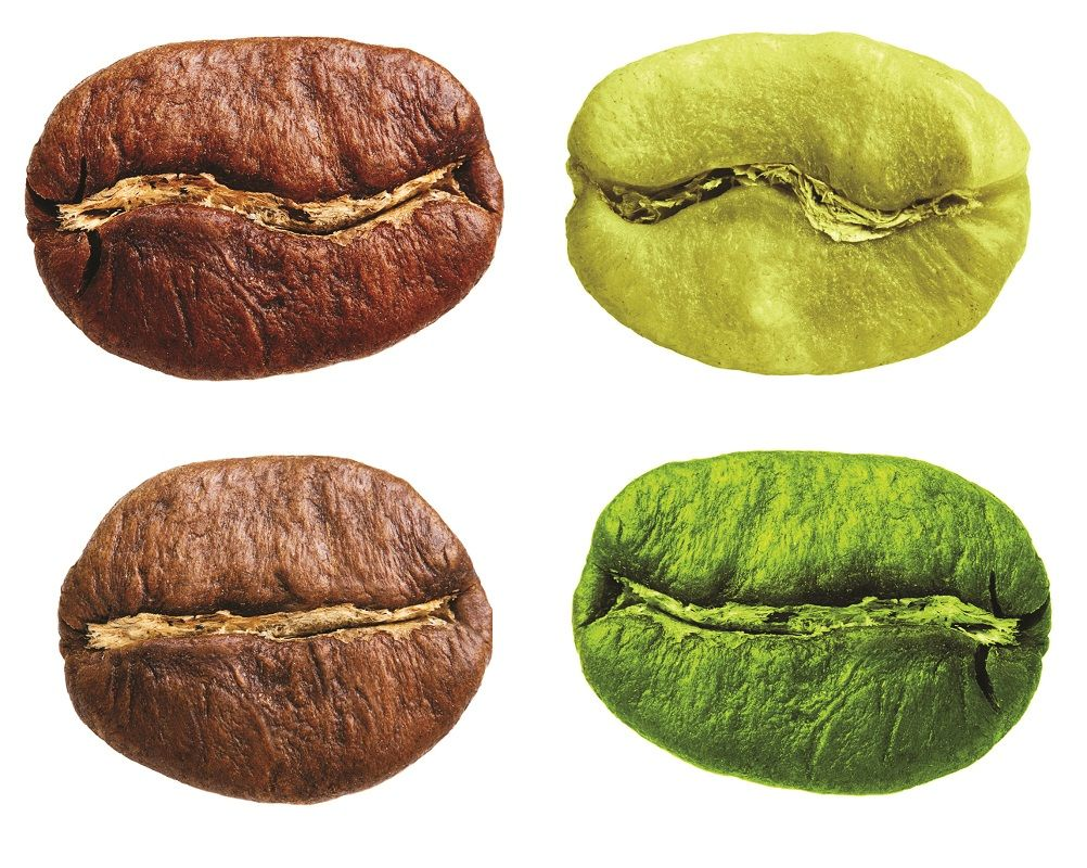 26982980 - black and green arabica, robusta coffee bean, grain isolated on white background.