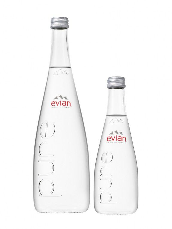 EVIAN GLASS PURE 75&33CL