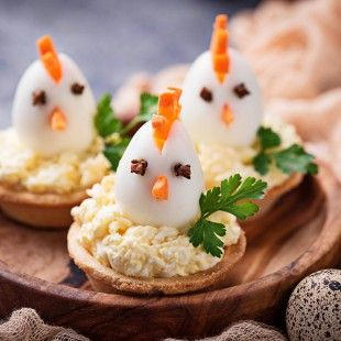 Chickens from eggs.  Easter appetizers for party. Selective focus