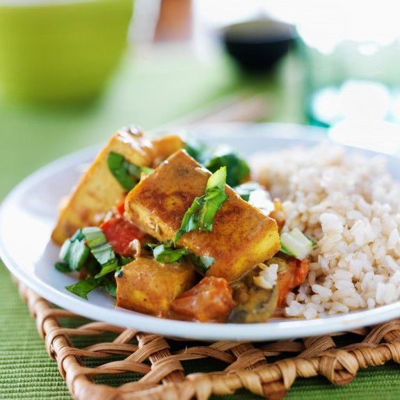 vegan tofu curry with brown rice