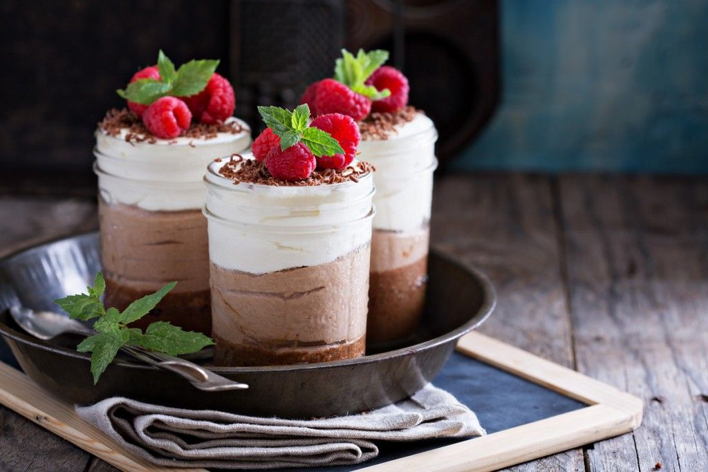Three chocolate mousse dessert in a jar