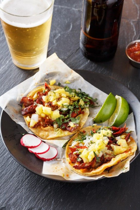 beer and street tacos with pineapple garnish