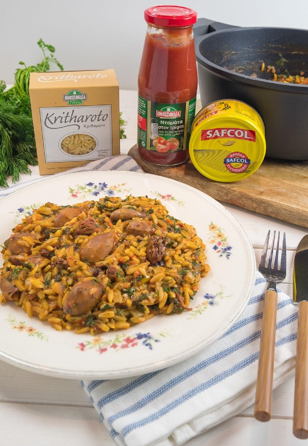 Κριθαρότο με πικάντικα καλαμαράκια και αρωματικά χόρτα - www.olivemagazine.gr
